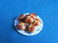 Hot Cross Buns on Plate  - F272