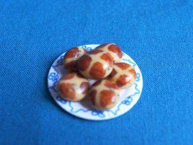 Hot Cross Buns on Plate  - F272