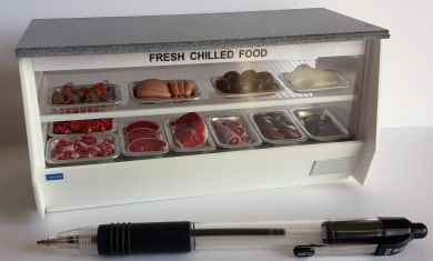 Chill Counter with 'Granite' Top filled with trays of Meat - CH2MEAT