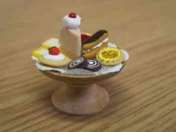 Cakes on a Wood Cakestand