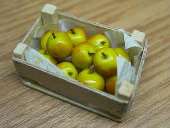 Coxs Apples in wood box