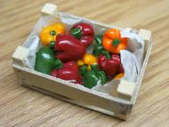 Peppers in wood box - F134