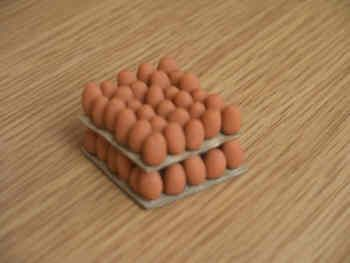 Eggs on trays