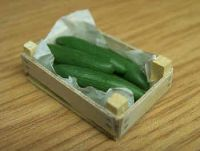 Cucumbers in wood box