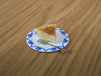 Curd Tart slice with  plate & fork - F251