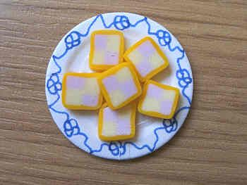 Battenberg Cake slices on plate - F35