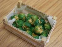 Brussels Sprouts in wood box