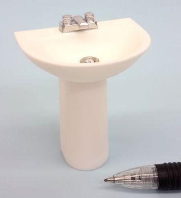 Basin on Pedestal with Flat Mixer Tap -  M226