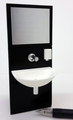 Wall Mounted Basin Unit with Mirror - Black - M266BLA