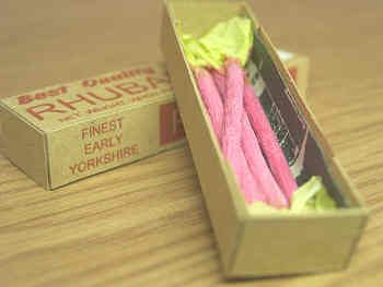 Rhubarb in printed carton