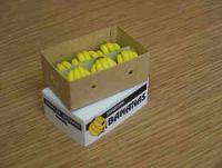 Bananas in printed carton.