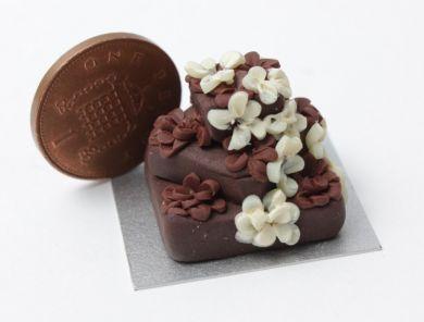 Chocolate Wedding Cake, 3 tier, Square