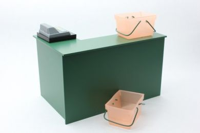 Checkout Desk in Green with Till and Baskets - S41 GREEN