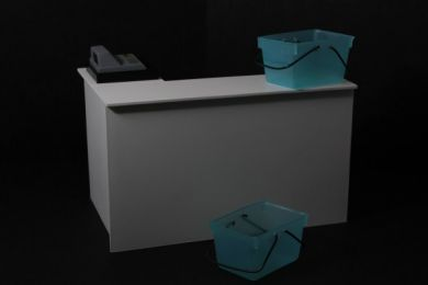 Checkout Desk in White with Till and Baskets - S41 WHITE