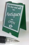 Antiques Shop A Board - Green and White - S110W