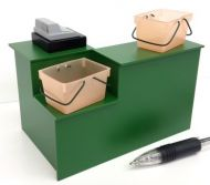 Checkout Desk with Basket Well in Green - S125G