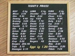 Butchers Prices Menu - S51