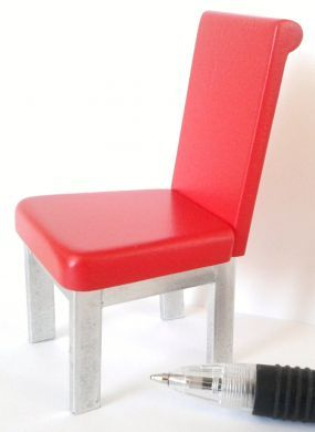 Dining Chair - Red & Silver